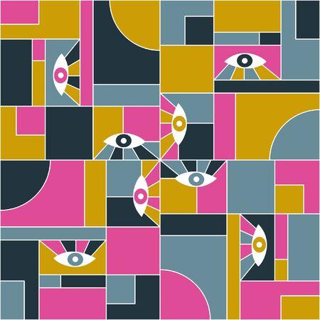 Mondrian bauhaus geometric seamless pattern with eyes. Abstract vector mondrian pattern fabric print. White grid, geometric shapes, open eyes bauhaus style seamless tile print design.