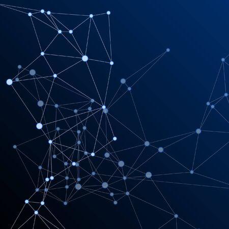 Social media communication digital concept. Network nodes plexus dark blue background. Linked dot nodes and lines low poly. Global social media network space vector. Molecular biology backdrop. Ilustração