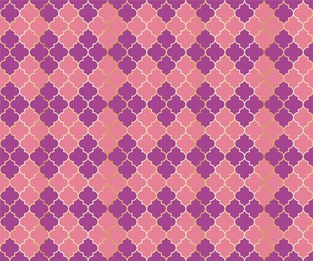 Moroccan Mosque Vector Seamless Pattern. Argyle rhombus muslim textile background. Traditional mosque pattern with gold grid. Chic islamic argyle seamless design of lantern lattice shape tiles.