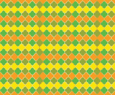 Persian Mosque Window Vector Seamless Pattern. Ramadan mubarak muslim background. Traditional ramadan mosque pattern with gold grid. Rich islamic window grid design of lantern shapes tiles.