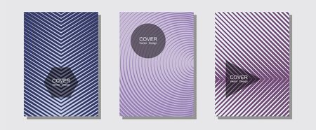 Banner graphics cool vector templates set. Business folders branding. Halftone lines music poster background. Hipster placards. Abstract banners graphic design with lined shapes. Illustration