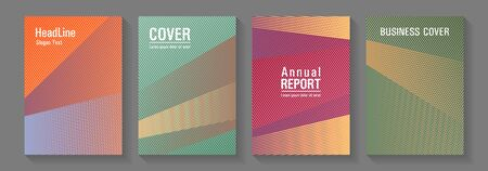 Linear geometry poster vector templates. Plastic style cover templates set. Futuristic journal mockups. Advanced technological concept. Lines gradient texture booklet layouts.