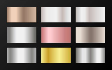 Glossy golden, silver, bronze, pink gold gradients. Metallic foil texture silver, steel, chrome, platinum, copper, bronze, aluminum, pink gold gradient swatches.  Shiny metallic swatch templates.