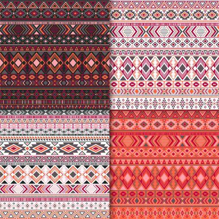 African tribal ethnic motifs geometric patterns set. Geometric tribal motifs clothing fabric textile ethno prints traditional design. South american folk fashion prints.