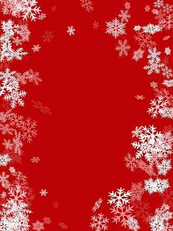Winter snowflakes border magic vector background. Many snowflakes flying border design, holiday banner with flakes confetti scatter frame, snow elements. Seasonal winter symbols.