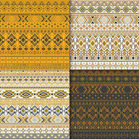 Mexican tribal ethnic motifs geometric patterns collection. Abstract tribal motifs clothing fabric textile ethno prints traditional design. Native american folk fashion prints. Ilustração