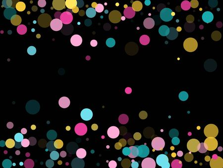 Memphis round confetti modern background in cyan, magenta and gold on black.  Childish pattern vector, kid's party birthday celebration background.  Holiday confetti circles in memphis style. Иллюстрация