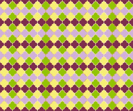Eastern Mosque Window Vector Seamless Pattern. Ramadan mubarak muslim background. Traditional ramadan mosque pattern in gold grid borders. Trendy islamic window grid design of lantern shapes tiles. 向量圖像