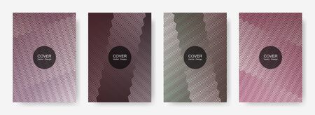 Zig zag lines halftone banner templates set, gradient stripes texture vector backgrounds for annual reports. Futuristic zig zag gradient line stripes composition. Poster backdrops collection.