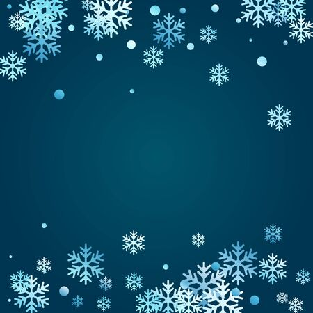 Winter snowflakes and circles border vector illustration. Unusual gradient snow flakes isolated flyer background. New Year card border pattern template with falling snowflake elements isolated.