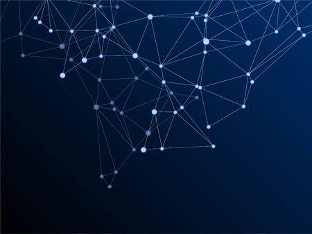 Big data cloud scientific concept. Network nodes plexus dark blue background. Virtual reality polygin design. Tech vector big data visualization cloud structure. Linked dot nodes and lines low poly.