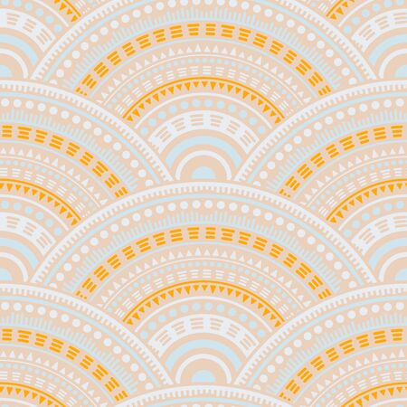 Indian circular shapes wallpaper design vector seamless pattern. Tribal motifs floral line art geometry. Eastern asian ethnic mandala shapes seamless geometric motifs pattern.