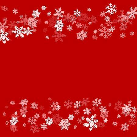 Los copos de nieve de invierno bordean el fondo simple del vector. Muchos copos de nieve volando diseño de borde, banner de vacaciones con marco de dispersión de confeti de copos, elementos de nieve. Símbolos de invierno de temporada fría. Ilustración de vector