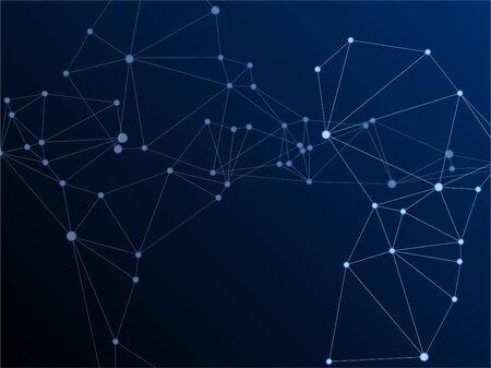 Geometric plexus structure cybernetic concept. Network nodes plexus dark blue background. Circle nodes and line elements. Coordinates structure grid shape vector. Virtual reality polygin design.