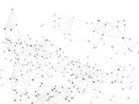 Geometric plexus structure cybernetic concept. Network nodes greyscale plexus background. Artificial intelligence plexus. Coordinates structure grid shape vector. Interlinkes nodes cells random grid.
