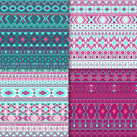 African tribal ethnic motifs geometric patterns collection. Abstract tribal motifs clothing fabric textile ethno prints traditional design. Native american folk fashion prints. 矢量图像