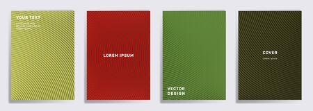 Colored covers linear design. Radial semicircle geometric lines patterns. Geometric backgrounds for cataloges, corporate brochures. Line shapes patterns, header elements. Cover page templates.
