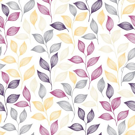 Wrapping tea leaves pattern seamless vector. Minimal tea plant bush leaves floral fabric design. Herbal sketchy seamless background pattern with nature elements. Colored summer foliage wallpaper.
