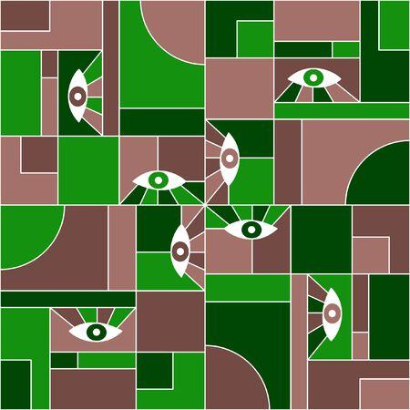German bauhaus geometric seamless pattern with eyes. Abstract vector suprematism pattern fabric print. Geometric grid elements, open eyes bauhaus style seamless  fabric background. Ilustração