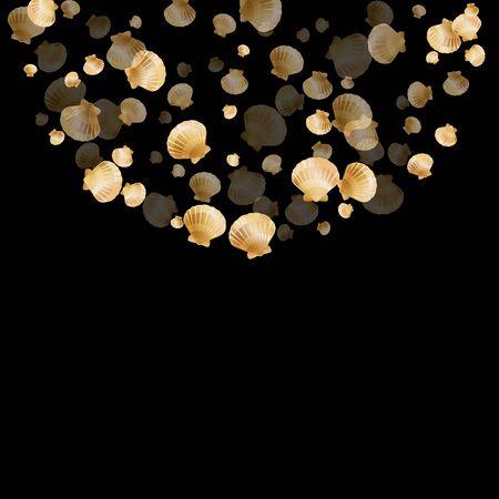 Gold seashells vector, golden pearl bivalved mollusks. Oceanic scallop, bivalve pearl shell, marine mollusk isolated on black wild life nature background. Stylish gold sea shell design.