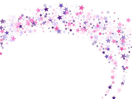 Flying stars confetti holiday vector in pink violet purple on white. Fireworks sparkles festival symbols. Party stars pattern graphic design. Magical starry bright card decoration.