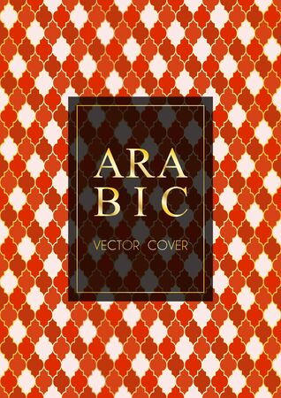 Arabic pattern vector cover page design in arabic style of mosque stained-glass window mosaic grid. Islamic background, moroccan, turkish, arabic, ottoman pattern vector template in gold red white