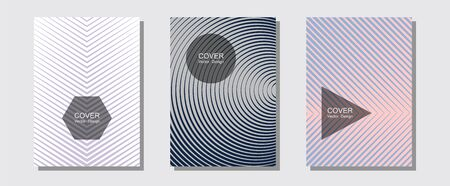 Certificate layouts vector graphic design set. Music placards. Halftone lines music poster background. Minimalistic journals. Flat lines shapes backgrounds for certificate layout. 일러스트