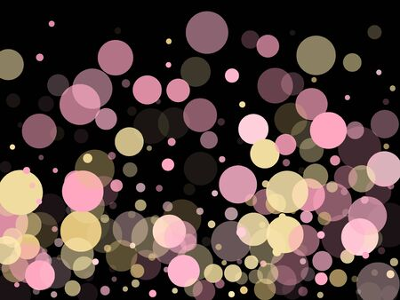 Pink gold confetti circle decoration for New Year card background. Bokeh lights effect vector. Gold, pink and rose color round confetti dots, circles scatter on black. Trendy rich bokeh background.