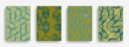 Tech  halftone shapes minimal geometric cover templates collection design. Halftone lines grid vector background of triangle, hexagon, rhombus, circle shapes. Typical geometric cover backgrounds.