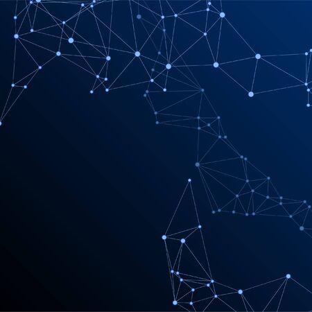 Block chain global network technology concept. Network nodes plexus dark blue background. Virtual reality polygin design. Dots nodes points lines particles. Global data exchange blockchain vector. Ilustração