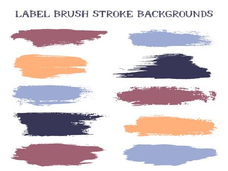 Artistic label brush stroke backgrounds, paint or ink smudges vector for tags and stamps design. Painted label backgrounds patch. Interior colors scheme samples. Ink smudges, stains, blue spots. Illustration