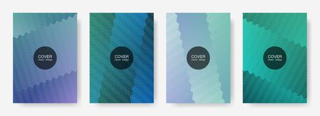Zig zag lines halftone banner templates set, vector backgrounds for   cover layouts. Minimalist zig zag gradient line stripes composition. Certificate backdrops design.