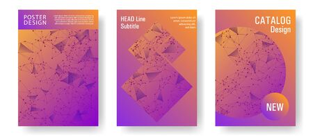 Stylish cover layout design. Global network connection polygonal grid. Interlinked nodes, atom, web or big data cloud structure concept. Information technology concept cover.