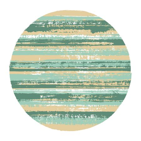 Vintage circle vector geometric shape with striped texture of ink horizontal lines. Disc banner with old paint texture. Stamp round shape circle logo element with grunge background of stripes.