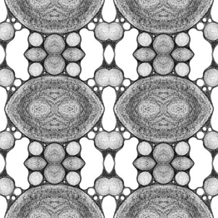 Modern geometric seamless pattern with smooth connected shapes. Summer pencil drawing curve shapes repeating background. Geometric textile print. Decorative seamless pattern.