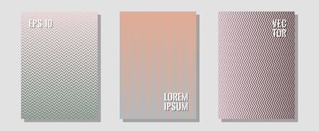 Certificate layouts vector graphic design set. Minimalist geometry. Zigzag halftone lines wave stripes backdrops. Music album adverts. Flat lines shapes backgrounds for certificate layout.