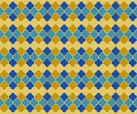 Moroccan Mosque Window Vector Seamless Pattern. Ramadan mubarak muslim background. Traditional ramadan mosque vector pattern with gold grid. Rich islamic window grid design of lantern shapes tiles. Imagens - 128568576