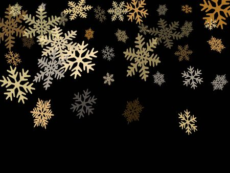 Snow flakes falling macro vector illustration, christmas snowflakes confetti falling scatter banner. Winter xmas snow background. Windy flakes falling and flying winter cold weather vector. Illustration