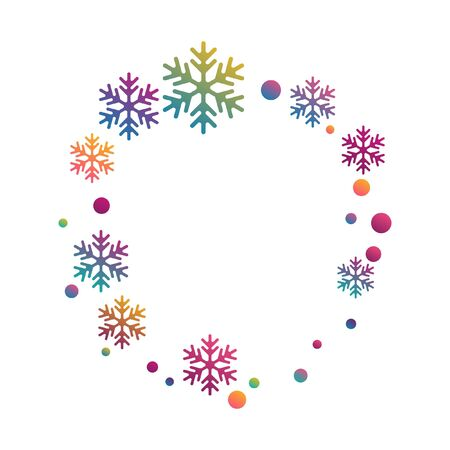 Winter snowflakes and circles border vector illustration. Unusual gradient snow flakes isolated poster background. New Year card border pattern template with minimal snowflake shapes isolated.