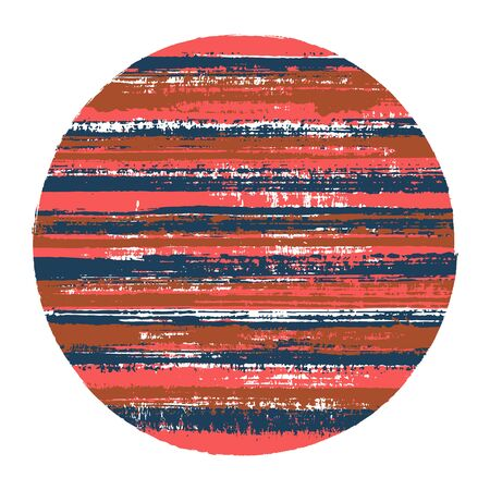 Hipster circle vector geometric shape with striped texture of ink horizontal lines. Disc banner with old paint texture. Stamp round shape circle logo element with grunge background of stripes.