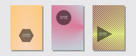 Halftone flat patterns abstract vector set. Hipster placards. Halftone lines music poster background. Vibrant tech mockups. Geometric covers of lines gradient flat patterns.