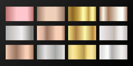 Metallic gradients vector set: golden, silver, platinum, bronze, rose gold. Polished iron, chrome, alloy, aluminum, titanium, copper, silver, rose gold, platinum, steel, bronze background swatches. Illustration