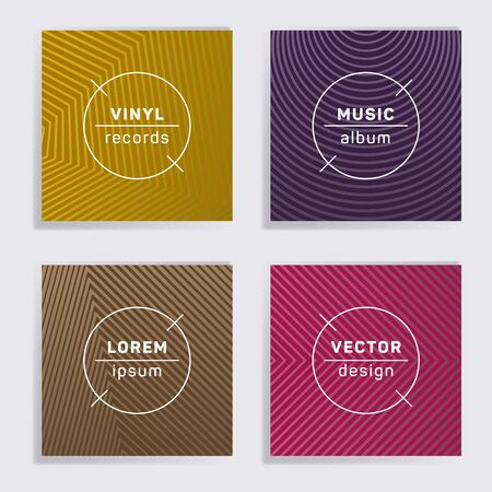 Geometric plate music album covers collection. Halftone lines backgrounds. Minimalistic plate music records covers, vinyl album mockups. DJ records disc vector mockups. Banners flyers cards set. Illustration