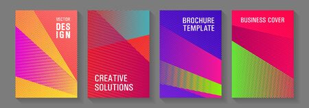 Geometric shapes line texture templates. Trendy stationery folder backgrounds. Simple annual report mockups. Hipster art covers geometry set. Stylish magazine vibrant leaflets. Vettoriali