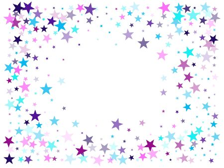 Flying stars confetti holiday vector in cyan blue violet on white. Chaotic holiday decor backdrop. Trendy stars explosion background. Twinkle starburst astral wallpaper.
