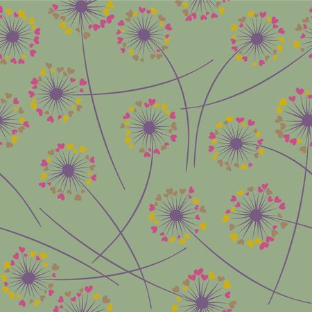 Cute dandelion blowing vector floral seamless pattern. Lovely flowers with heart shaped fluff flying. Dandelion herbs meadow flowers floral pattern design. Meadow blossom textile print. Illustration
