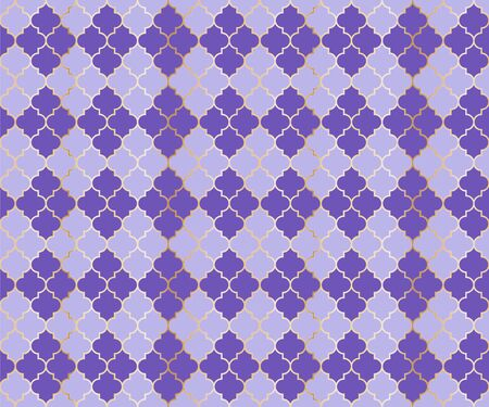Ottoman Mosque Vector Seamless Pattern. Argyle rhombus muslim textile background. Traditional mosque pattern with gold grid. Rich islamic argyle seamless design of lantern lattice shape tiles. Imagens - 128568775