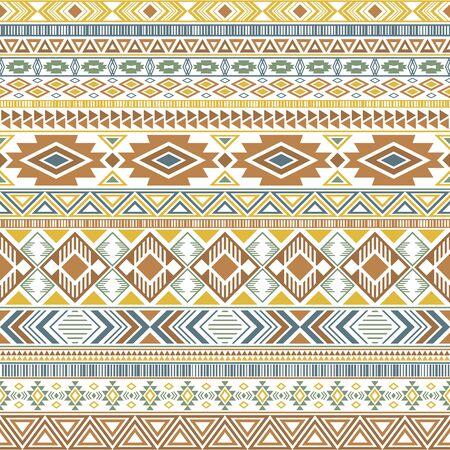 Aztec american indian pattern tribal ethnic motifs geometric seamless background. Unusual native american tribal motifs clothing fabric ethnic traditional design. Mexican folk fashion.