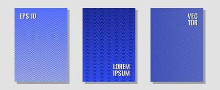 Halftone gradient texture vector cover layouts. Trendy magazines. Zigzag halftone lines wave stripes backdrops. Contemporary collection. Multiple lines cool gradient texture backgrounds. 일러스트
