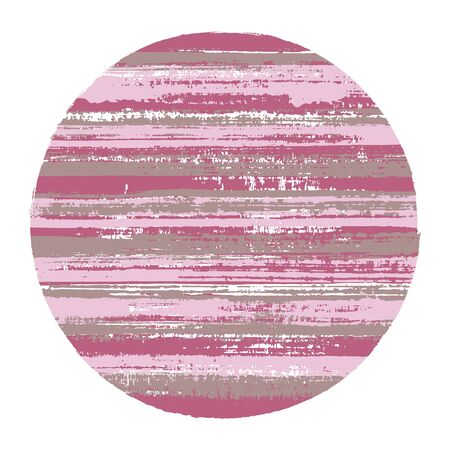 Hipster circle vector geometric shape with striped texture of ink horizontal lines. Old paint texture disc. Badge round shape circle logo element with grunge background of stripes.